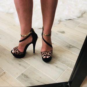 """Leopard Bebe 4.5"""" heels"""